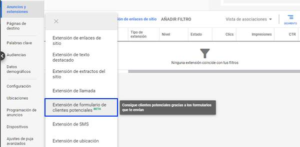 crear extension de formularios de leads en google adwords