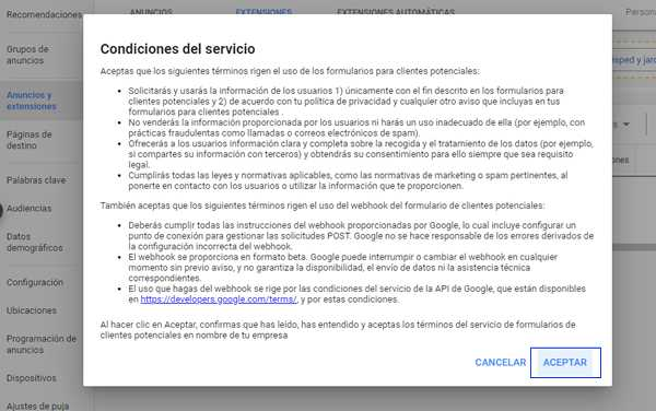 condiciones de servicio google ads extension forms