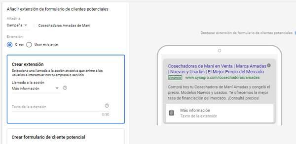 crear extensiones de formulario en google ads
