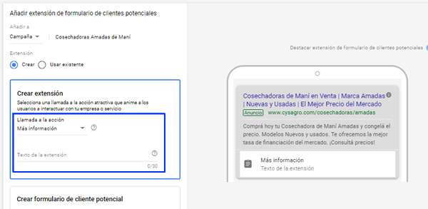 texto llamada a la acción leads forms google adwords