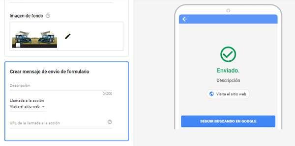 crear mensaje de envio en google ads forms